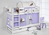 Stapelbed Paard Lila met tent en lattenbodems_