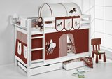 Stapelbed Paard Bruin met tent en lattenbodems_