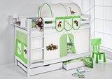Stapelbed Dino Groen met tent en lattenbodems_