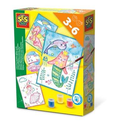SES Creative Aqualine Glitterkaarten Kleuren Set