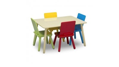 Kindertafeltje met 4 stoeltjes Multicolor