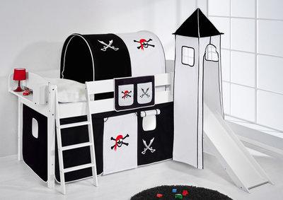 Halfhoogslaper IDA Piraat Zwart met tent, toren en glijbaan