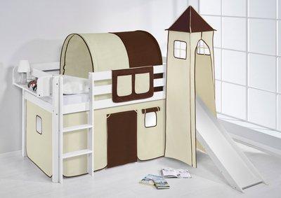 Halfhoogslaper Bruin beige met tent, toren en glijbaan