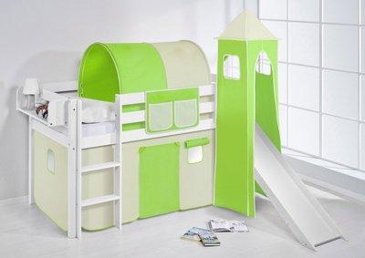 Halfhoogslaper Groen beige met tent,toren en glijbaan