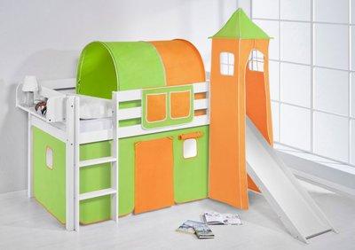 Halfhoogslaper Groen oranje met tent,toren en glijbaan
