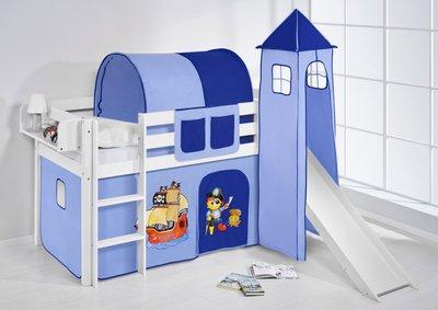 Halfhoogslaper Piraat blauw met tent, toren en glijbaan