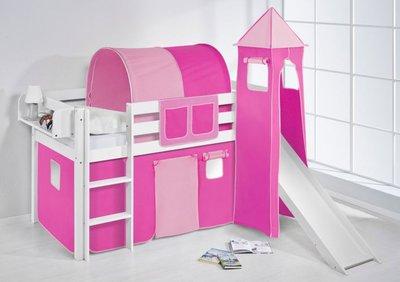 Halfhoogslaper Roze met tent, toren en glijbaan