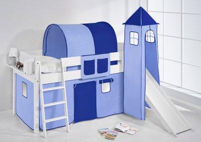 Halfhoogslaper IDA Blauw met tent, toren en glijbaan
