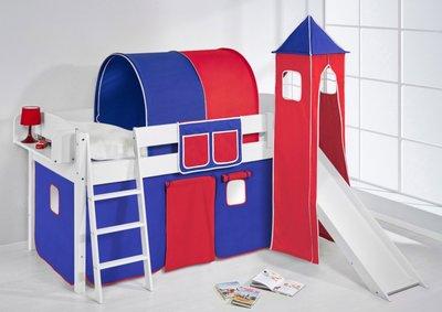 Halfhoogslaper IDA Blauw rood met tent, toren en glijbaan