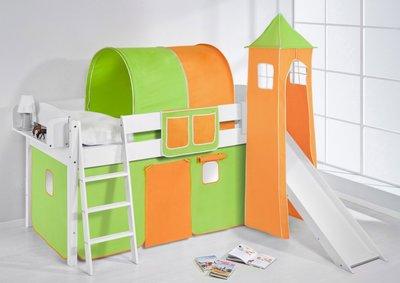 Halfhoogslaper IDA Groen oranje met tent,toren en glijbaan