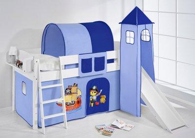 Halfhoogslaper IDA Piraat blauw met tent, toren en glijbaan