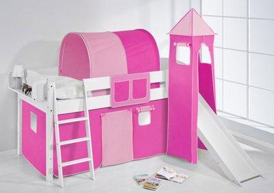Halfhoogslaper IDA Roze met tent, toren en glijbaan