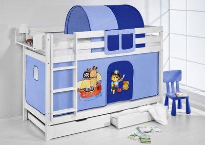 Stapelbed Piraat Blauw met tent en lattenbodem