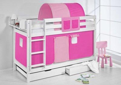 Stapelbed Roze met tent en lattenbodem