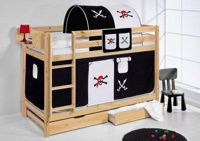 Stapelbed Piraat Zwart blank met tent en lattenbodems