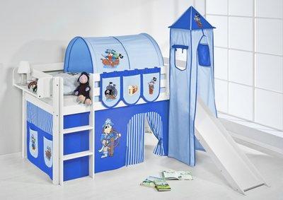 Halfhoogslaper Piraat Blue met tent, toren en glijbaan