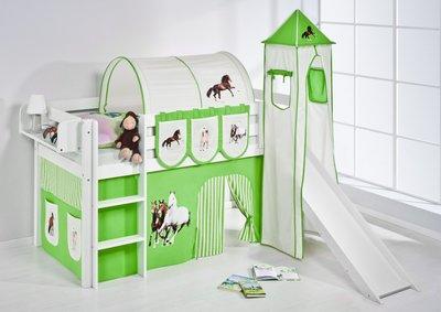 Halfhoogslaper Paard Groen met tent, toren en glijbaan