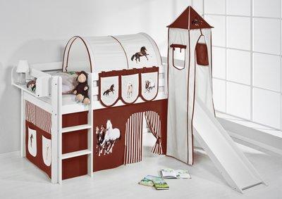 Halfhoogslaper Paard Bruin met tent, toren en glijbaan