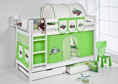 Stapelbed Tractor Groen met tent en lattenbodems
