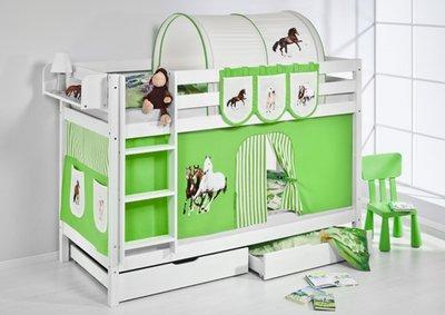 Stapelbed Paard Groen met tent en lattenbodems
