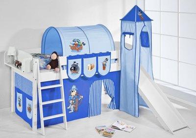 Halfhoogslaper IDA Piraat Blue met tent, toren en glijbaan