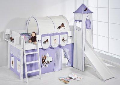 Halfhoogslaper IDA Paard Lila met tent, toren en glijbaan