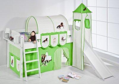 Halfhoogslaper IDA Paard Groen met tent, toren en glijbaan