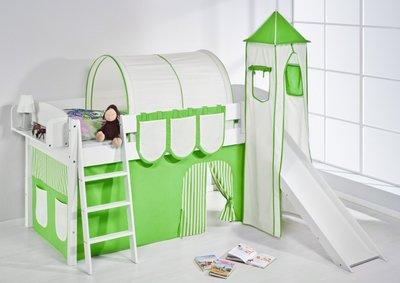 Halfhoogslaper IDA Groen met tent, toren en glijbaan