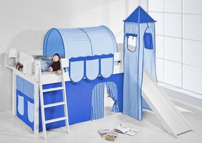 Halfhoogslaper IDA Blue met tent, toren en glijbaan