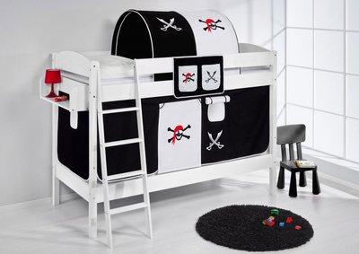 Stapelbed IDA Piraat Zwart met tent en lattenbodem