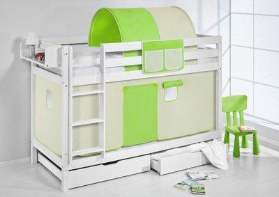 Stapelbed Groen/Beige met tent en lattenbodem