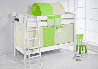Stapelbed IDA Groen/Beige met tent en lattenbodem