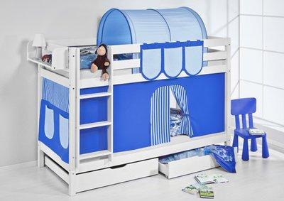 Stapelbed Blauw met tent en lattenbodems