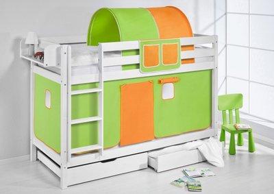 Stapelbed Groen Oranje met tent en lattenbodem