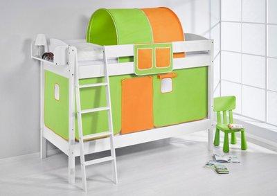 Stapelbed IDA Groen Oranje met tent en lattenbodem