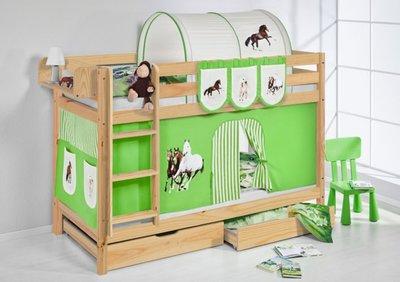 Stapelbed Paard Groen blank met tent en lattenbodems