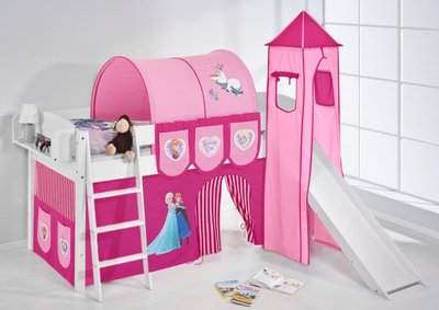 Halfhoogslaper IDA Frozen Roze met tent, toren en glijbaan