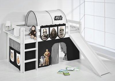Halfhoogslaper Star Wars Zwart met tent en glijbaan