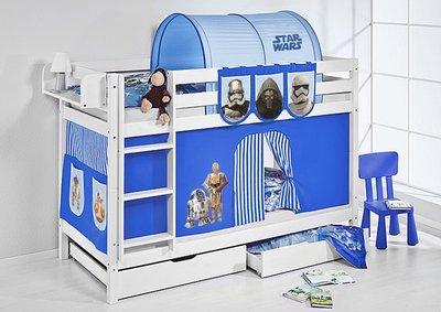 Stapelbed Star Wars Blauw met tent en lattenbodems