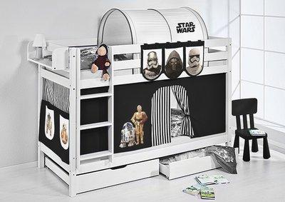 Stapelbed Star Wars Zwart met tent en lattenbodems