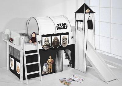 Halfhoogslaper IDA Star Wars Zwart met tent, toren en glijbaan