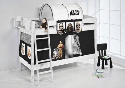 Stapelbed IDA Star Wars Zwart met tent en lattenbodems