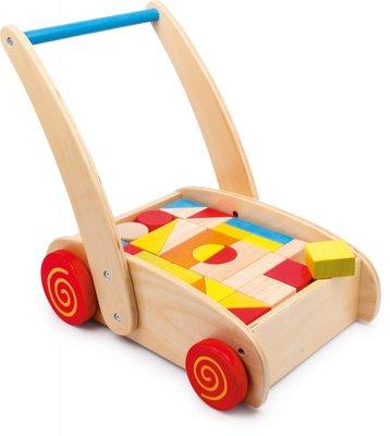 Houten Loopwagen Speelgoedblokken