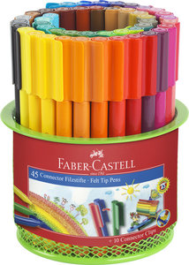 Faber Castell FC-155545 Viltstift Faber-Castell Connector 45 Stuks In Metalen Blik Groen