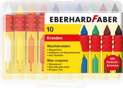 Eberhard Faber EF-521009 Waskrijt Rond Met Gripzone 10 Stuks Assorti