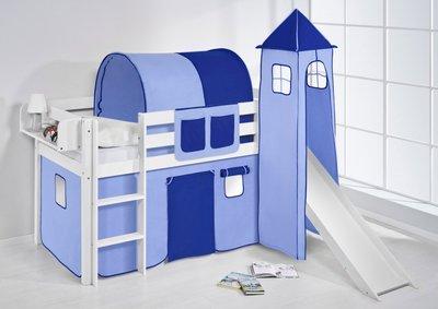 Halfhoogslaper Blauw met tent, toren en glijbaan