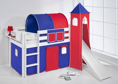 Halfhoogslaper Blauw rood met tent, toren en glijbaan