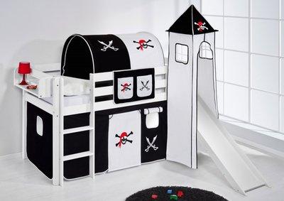 Halfhoogslaper Piraat Zwart met tent, toren en glijbaan