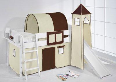 Halfhoogslaper IDA Bruin beige met tent, toren en glijbaan