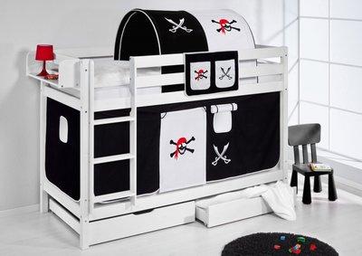 Stapelbed Piraat Zwart met tent en lattenbodem